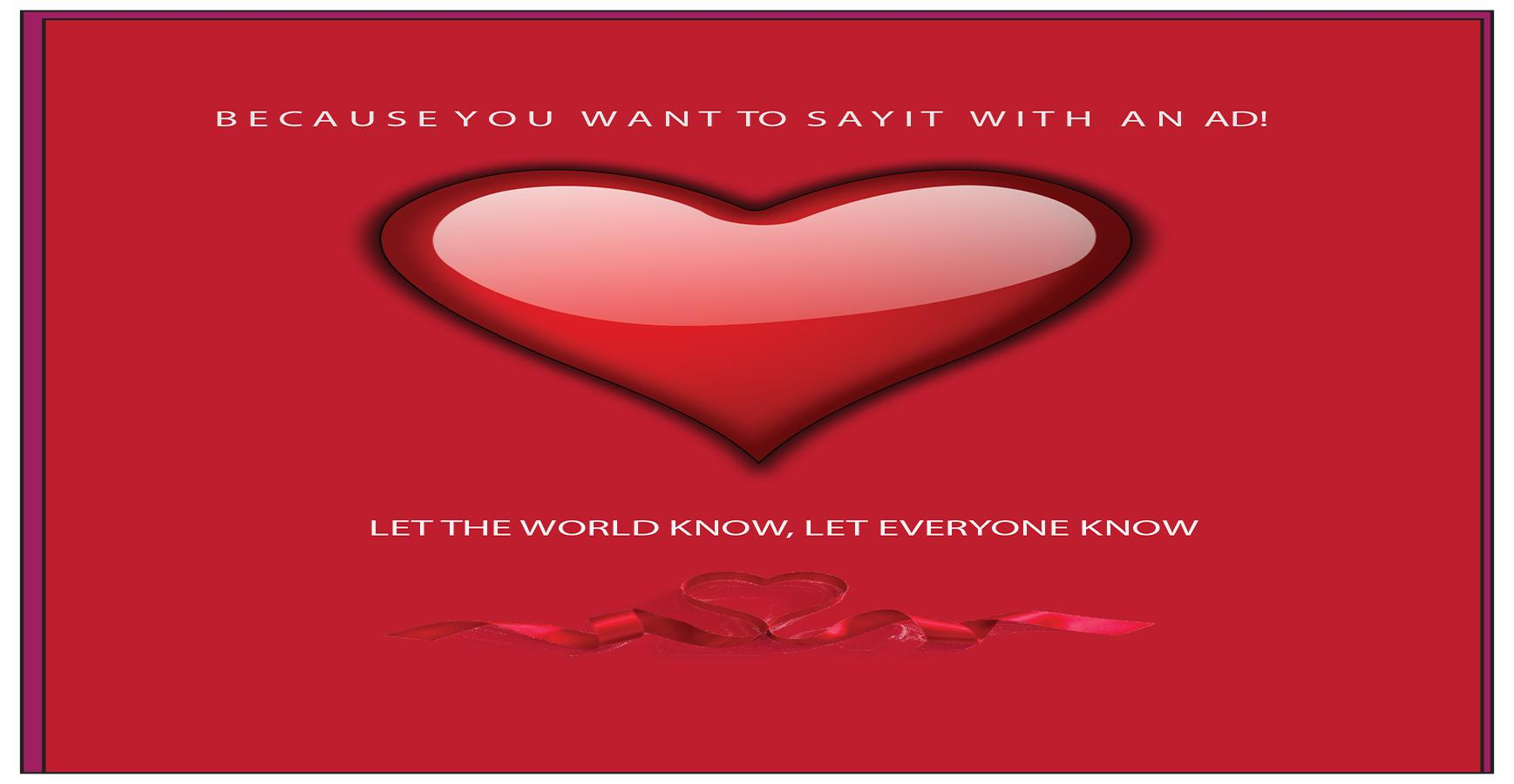 Buy Your Valentine's Day Ad Today!