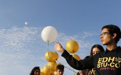 Jovan Guzman, 11, releases a white balloon into the blue sky. A balloon was released for each victim of Saturday's shooting as a bell sounded 22 times.