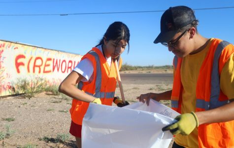 """On Sept. 28, an Adopt-a-Highway cleanup was held at Montana Ave. where senior Aixarret Hernandez helped pick up litter build-up. Aixarret has been able to be a part of It's Your World and many other projects to help out the community through her CAS projects.. """"For CAS I started two of my own projects, Equal Life and Love for Elders, and I'm a part of two others, which are Cleats for Kidsand It's Your World."""""""