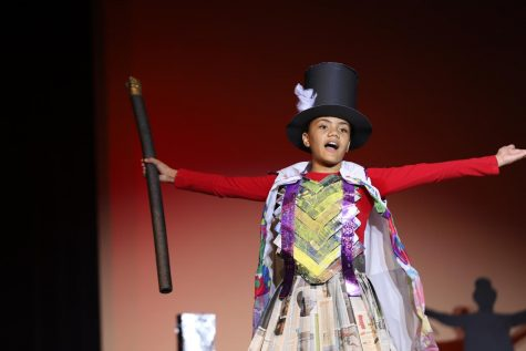 Students from feeder elementary and middle schools used recycled materials to create fashionable outfits.