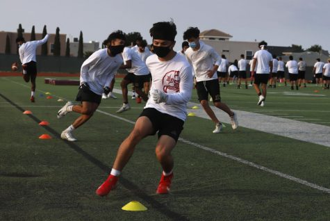 The Aztecs practice multiple drills on Sept. 10 at the practice field