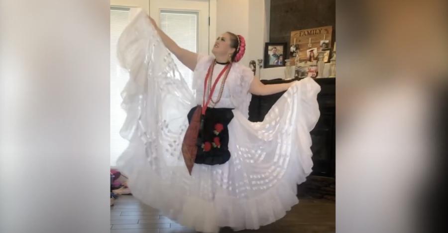 Folklorico teacher Merida De Leon dances in the Aztecs Got Talent show