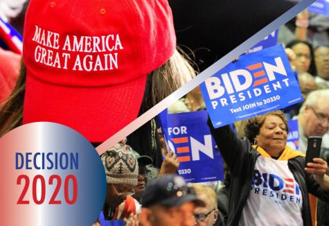 At left, Trump supporters fill the seats of Target Center in Minneapolis, MN, for President Donald Trumps 2020 presidential campaign rally on October 10, 2019. Photo by Nikolas Liepins.  At right, Biden supporters listen to Congressman Bobby Scott speak at a rally for the Democratic candidate on March 3, 2020 in Norfolk, Virginia at Booker T. Washington High School. Photo by Carter Marks, Royals Media.