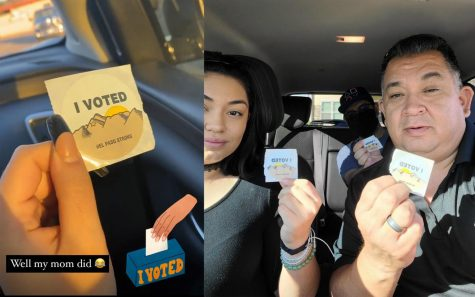 "Junior Andreana Cadena and senior Mia Cordero posted photos of their ""I Voted"" stickers on social media Nov. 3, Election Day."