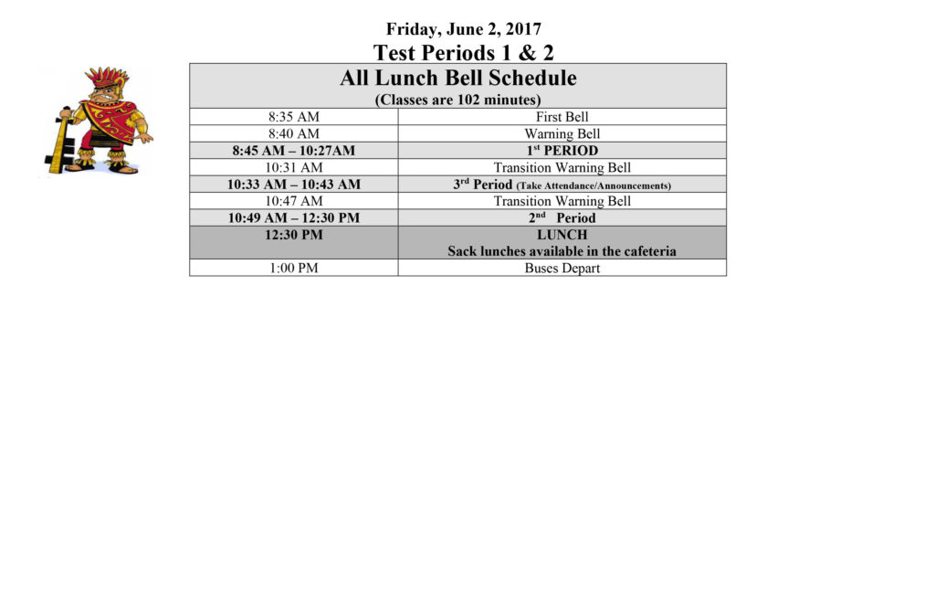 Spring 2017 Finals Bell Schedule 3