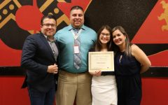 Senior Dina Orozco poses with her honored educator, Mr. Castruita and her parents at the Top 15 dinner.
