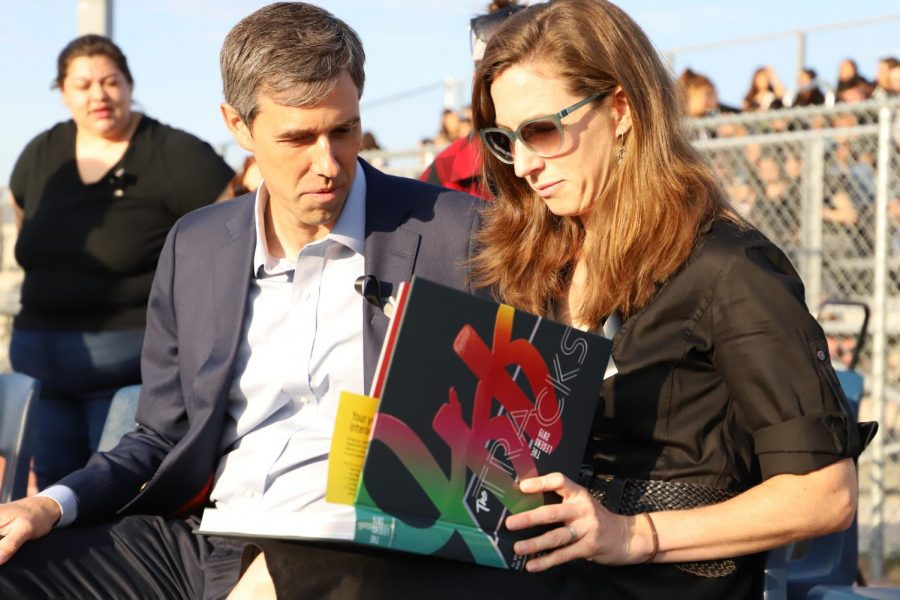 Beto ORourke and his wife, Amy, flip through the El Dorado 2019 yearbook, looking at the pages that ORourke appeared on in last years coverage of the presidential visit.