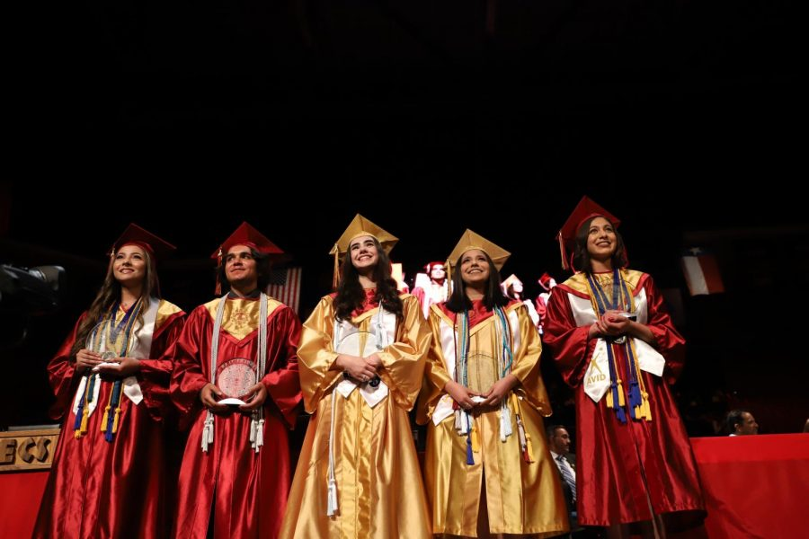 The winners of the Tenochtitlan Award for 2019 stand on stage during graduation at the Don Haskins Center