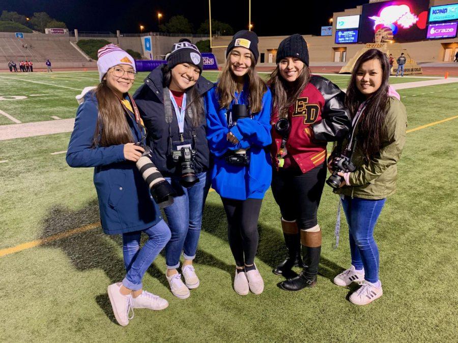 Lia Rodriguez, Katlyn Rodriguez, Elizabeth Blocker, Alyssa Herrera and Heather Nguyen cover a football game at the SAC.
