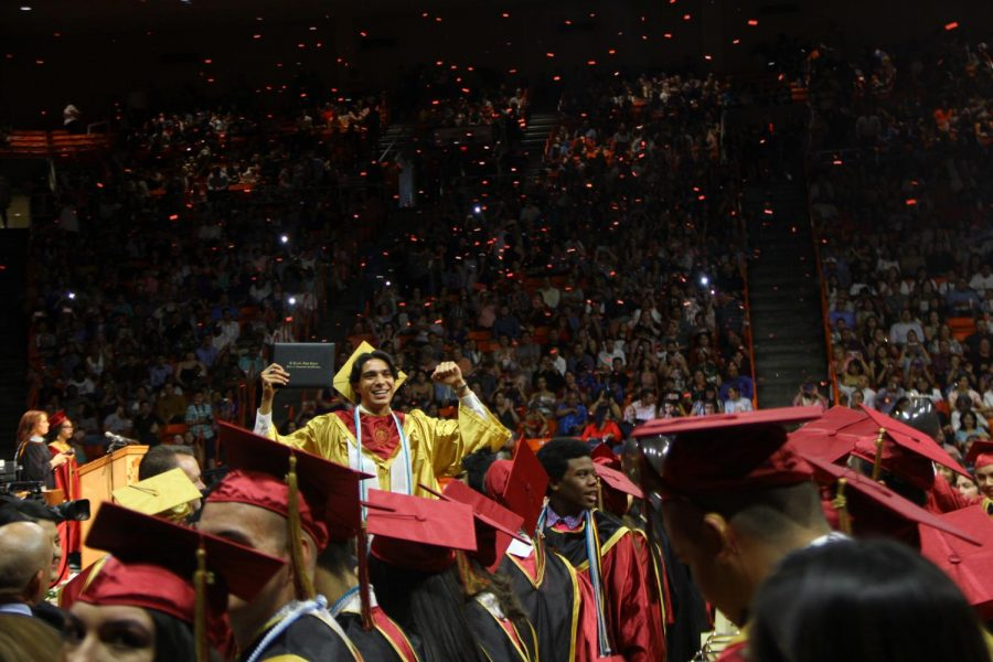 The Class of 2019 celebrates graduation at the end of the ceremony at the Don Haskins Center.